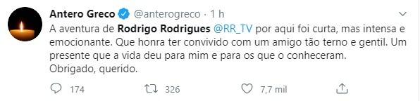 Amigos e clubes lamentaram morte do apresentador Rodrigo Rodrigues
