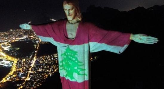 Bandeira do Líbano é projetada no Cristo Redentor
