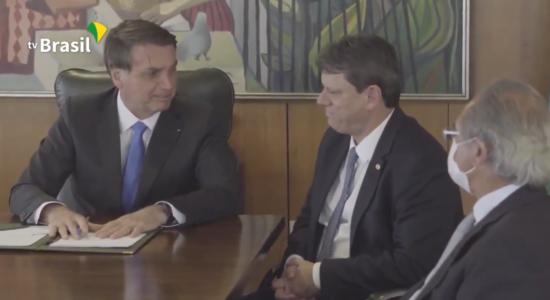 Presidente Jair Bolsonaro e o ministro da Infraestrutura, Tarcísio de Freitas