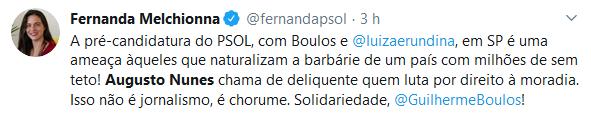 Augusto Nunes chama Boulos de ameaça e