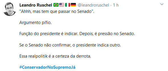 Web se une e manda recado: #ConservadorNoSupremoJá