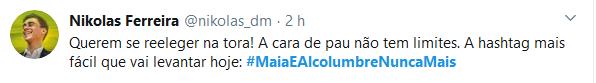 Web protesta e cria a campanha #MaiaEAlcolumbreNuncaMais