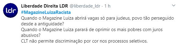 Internet critica Magazine Luiza por