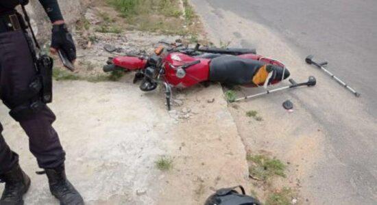 Adolescente foi apreendido após acidente de moto