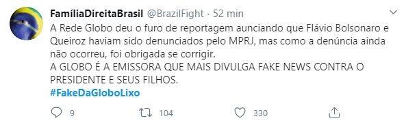 #FakeDaGloboLixo ficou entre os trending topics