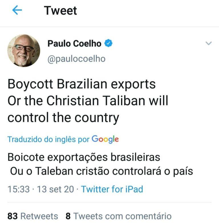 Paulo Coelho fez posts polêmicos no Twitter