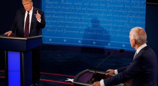Trump e Joe Biden em debate presidencial