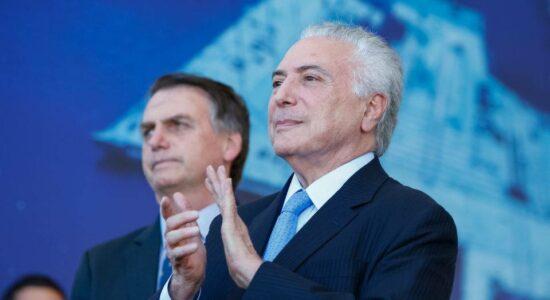 Ex-presidente Michel Temer e o presidente Jair Bolsonaro