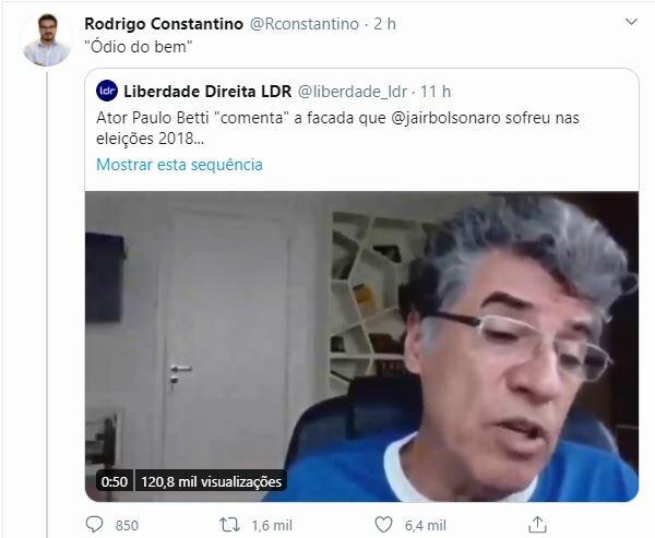 Web criticou fala de Paulo Betti contra Bolsonaro