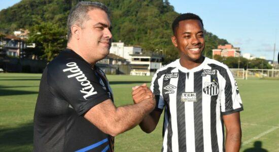Presidente do Santos, Orlando Rollo, e o jogador Robinho