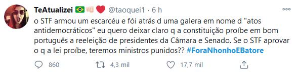 Web volta se manifestar contra reeleição de Maia e Alcolumbre