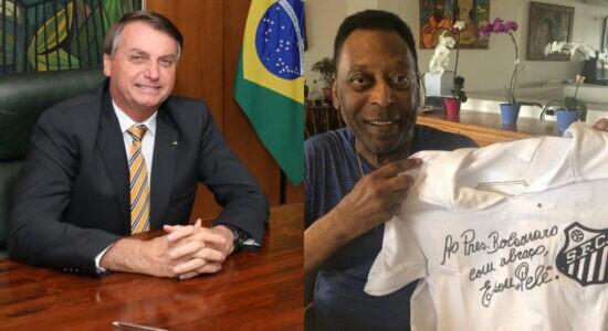 Pelé autografa camisa e envia para Bolsonaro, que agradece