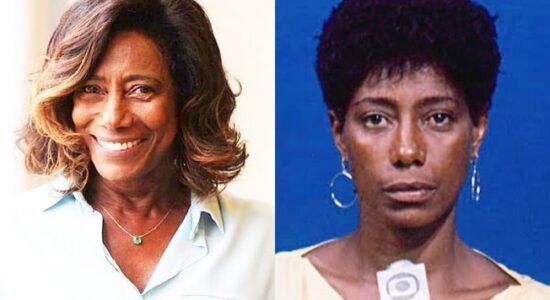 Duas fotos da jornalista Glória Maria, uma atual e outra antiga