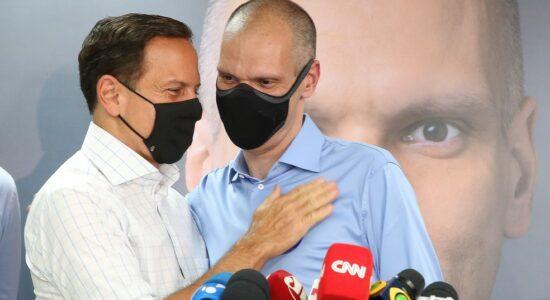 Governador João Doria e prefeito reeleito Bruno Covas