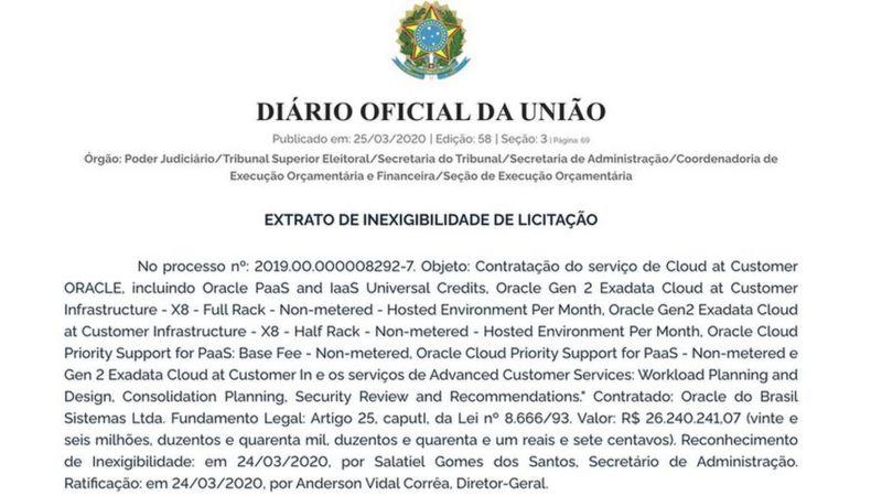 Contrato do TSE com a Oracle do Brasil Sistemas mostra dispensa de licitação