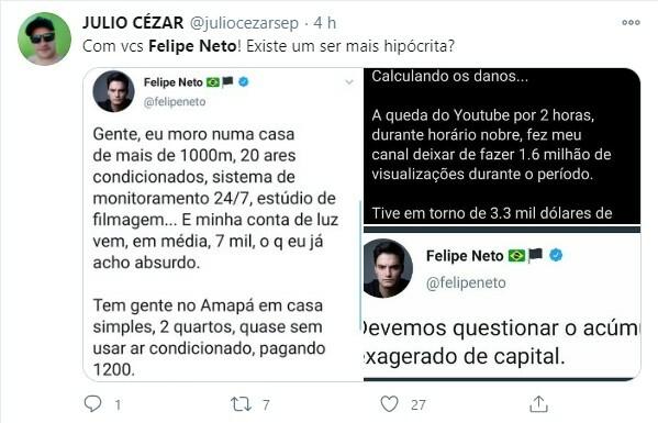 Internautas ironizaram publicação de Felipe Neto sobre prejuízo com o YouTube
