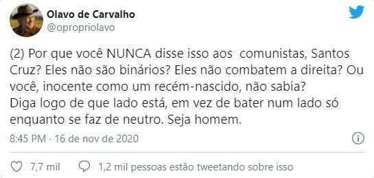 Olavo de Carvalho responde o general Santos Cruz pelo Twitter