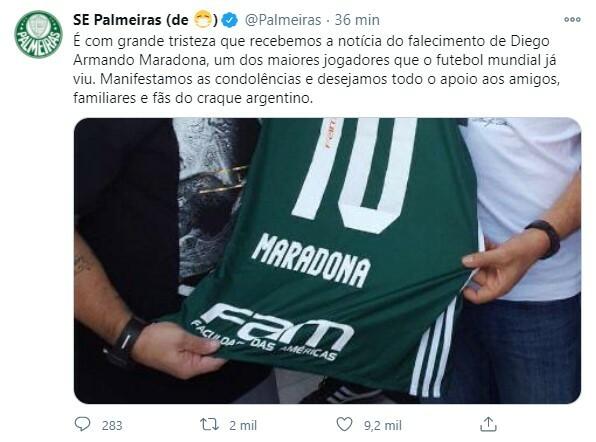 Jogadores, clubes e famosos lamentaram a morte de Maradona