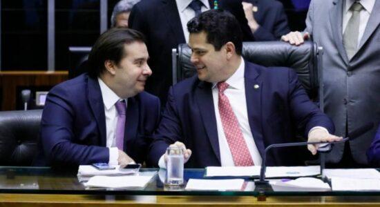 Presidente da Câmara dos Deputados, Rodrigo Maia, e presidente do Senado, Davi Alcolumbre