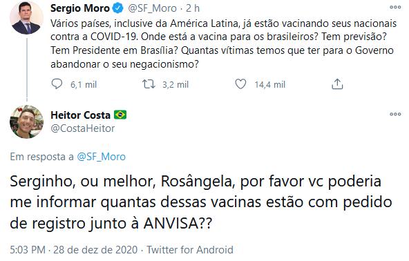 Ressentido? Moro ataca Bolsonaro por questão da vacina