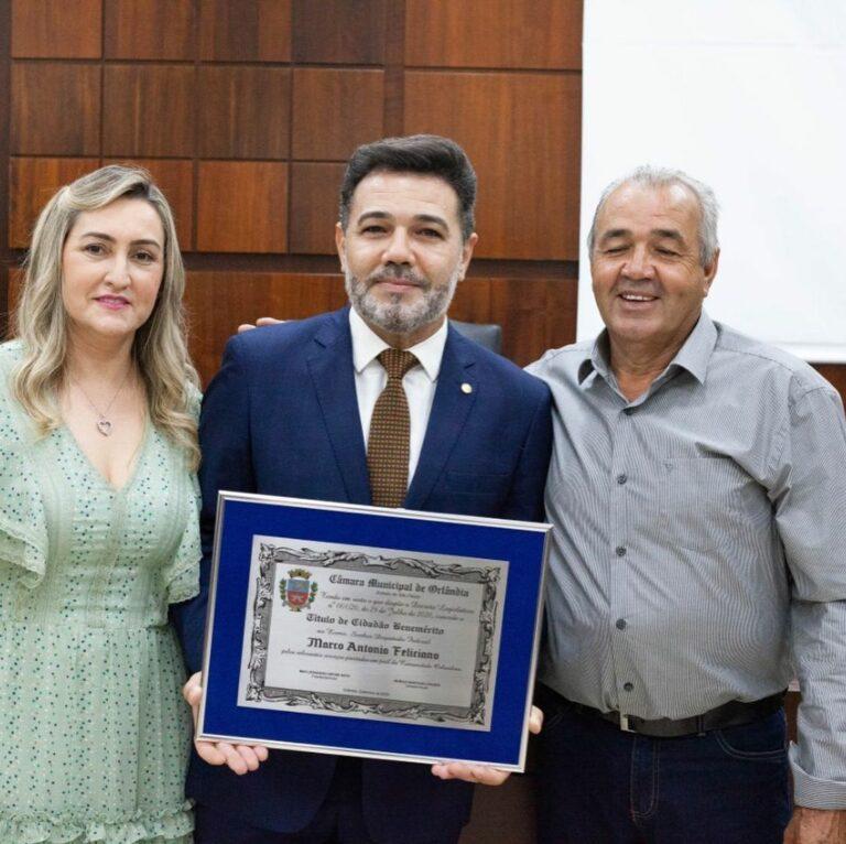 Fui agraciado com o título de Cidadão Benemérito de Orlândia
