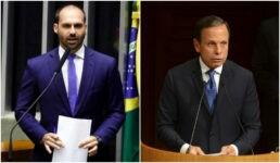 Eduardo Bolsonaro rebateu críticas de João Doria