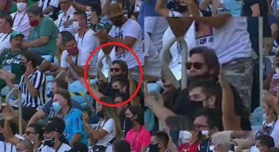 Faustão foi flagrado em meio à torcida do Santos FC na arquibancada do Maracanã