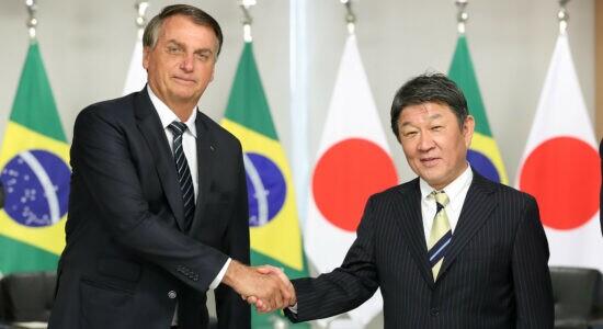 Presidente Jair Bolsonaro e  o ministro dos Negócios Estrangeiros do Japão, Motegi Toshimitsu