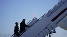 Donald Trump e sua esposa, Melania Trump, deixam a Casa Branca rumo à Flórida