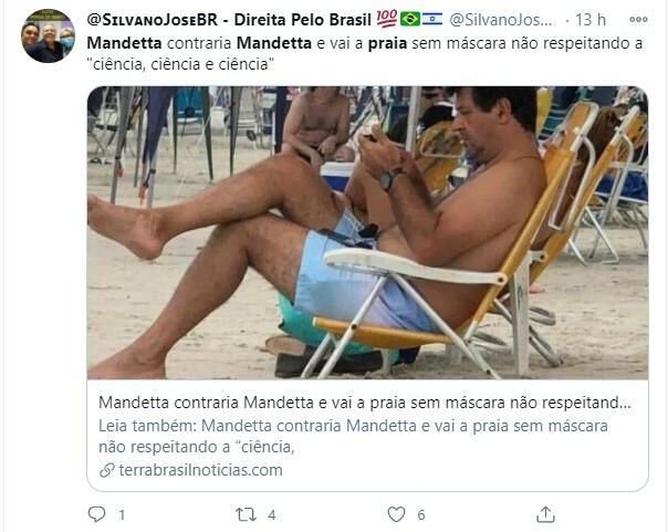 Mandetta foi criticado após ser flagrado na praia