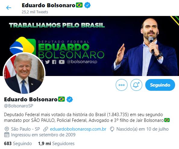 eduardo bolsonaro troca foto de perfil por Donald Trump print twitter