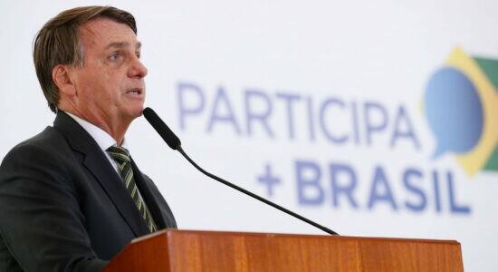 Bolsonaro durante cerimônia da Plataforma Participa+