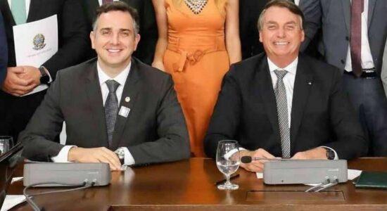 Senador Rodrigo Pacheco e o presidente Jair Bolsonaro