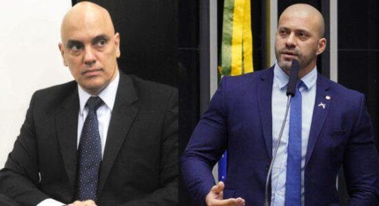 Ministro Alexandre de Moraes e o deputado federal Daniel Silveira
