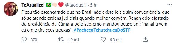 Web se revolta com CPI e dispara #PachecoTchutchucaDoSTF