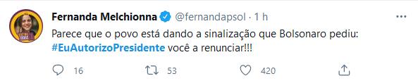 Bolsonaro pede sinal do povo e web diz: #EuAutorizoPresidente