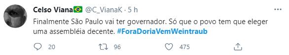Web se une e lança campanha #ForaDoriaVemWeintraub