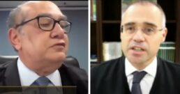 Ministro Gilmar Mendes e o advogado-geral da União André Mendonça