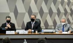 Cúpula da CPI da Covid formada pelos senadores Randolfe Rodrigues, Omar Aziz e Renan Calheiros