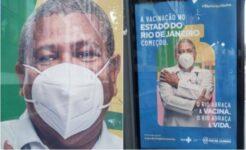 Campanha no Rio de Janeiro mostra homem com máscara de cabeça para baixo
