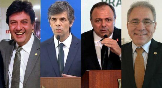 Ministros da Saúde do governo Bolsonaro, Mandetta, Teich, Pazuello e Queiroga