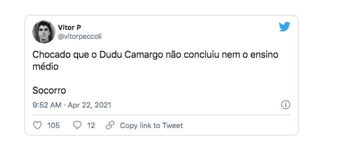 Web se assusta ao saber que Dudu Camargo não tem Ensino Médio completo