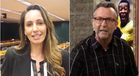 Ana Paula Henkel e o comentarista Neto