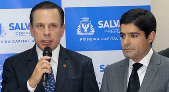 Governador de São Paulo, João Doria, e presidente nacional do DEM, ACM Neto