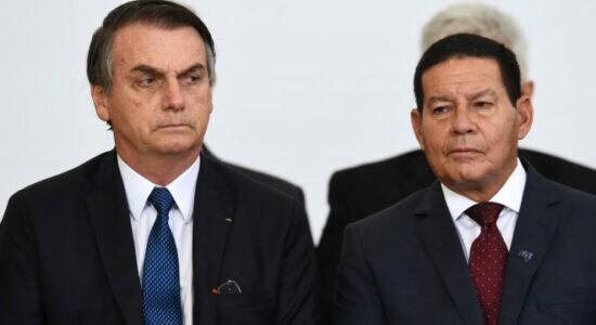 Presidente Jair Bolsonaro e o vice-presidente Hamilton Mourão