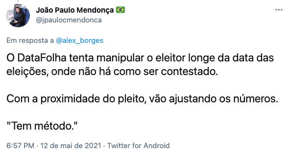 Internautas questionaram credibilidade do instituto de pesquisa do jornal Folha de S. Paulo
