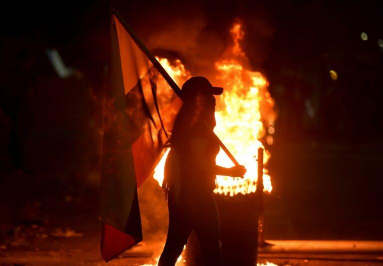 Protestos pela morte do jovem Nicolás Guerrero, em Cali (Colômbia)