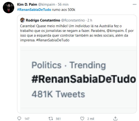 Após denúncia, web se une e diz que #RenanSabiaDeTudo
