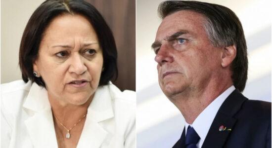 Governadora Fátima Bezerra e o presidente Jair Bolsonaro