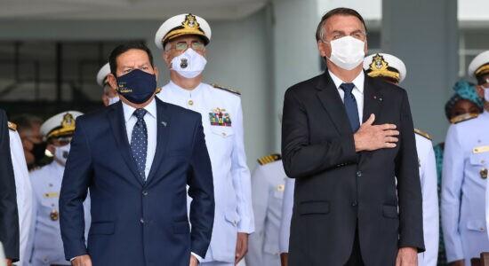 Presidente Jair Bolsonaro durante cerimônia neste sábado no Rio